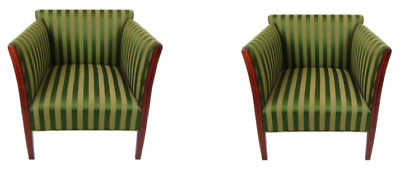 French 1930s  deco pair of Green fabric Arm Chairs
