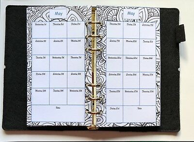 Filofax Personal Planner 2019 Diary Jan - Dec Monthly Calendar - Colouring In