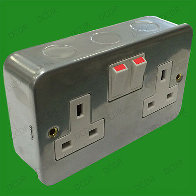 2x 2 Gang Metal Clad Switched 13A Double Mains UK 3 pin Wall Power Socket Outlet