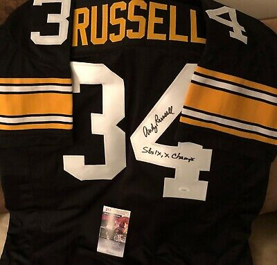 e760f5445 ANDY RUSSELL AUTOGRAPHED Pittsburgh Steelers Mitchell   Ness NFL ...