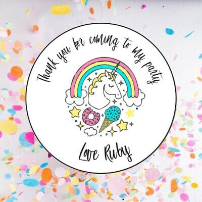 35x PERSONALISED Thank You Kids Party Bag Stickers Unicorn Girls Sweet Seal 080