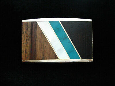 PD03145 VINTAGE 1970s **INLAID WOOD & STONE ABSTRACT ART** SOLID BRASS BUCKLE
