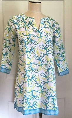 09cf817c1b NEW Talbots Outlet Beach Cover Up Dress Size S Cotton Blue Green Sea Coral  Print