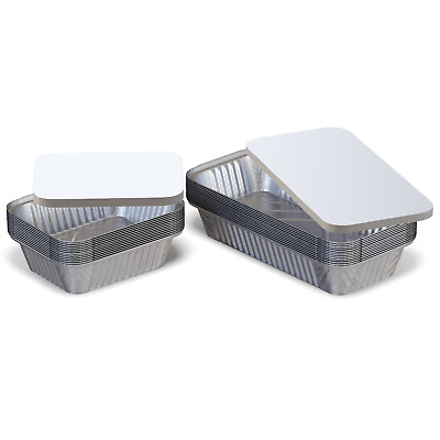 100 Silver Aluminium Foil Food Container Trays With Lids For Takeaway & Home use