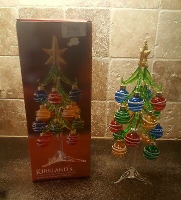 Kirklands Christmas.Vtg Kirkland S Multicolor Glass Ornament Christmas Tree 10