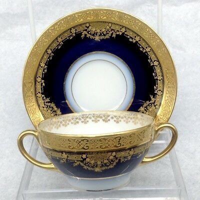 Antique Elite S M Limoges Bouillon Heavy Gold Overlay Cobalt Blue Cup Saucer