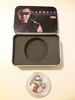 Marvel Avengers 'hawkeye' Collectors Coin 1oz Silver Plated With Tin Gift