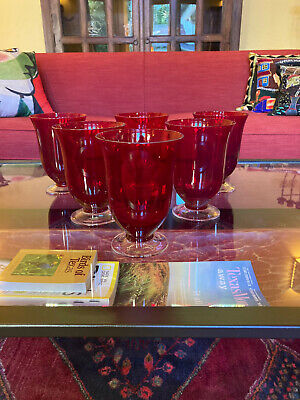 New! Six LENOX Holiday Gems Ruby Red Crystal All-Purpose Goblets Discontinued