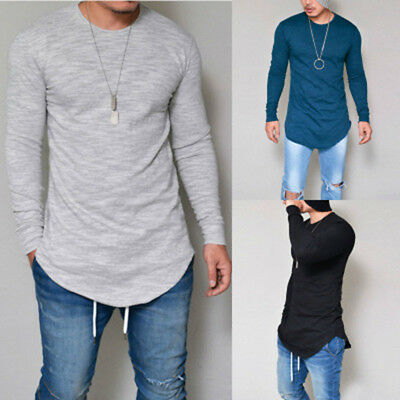 Fashion Men Slim Fit V Neck Long Sleeve Muscle Tee T-shirt Casual Tops Blouse UK