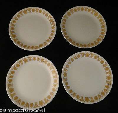 "4 Butterfly Gold large dinner plates 10"" plate vintage 1960 1970s Pyrex Corelle"