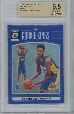 47ceb14ec4d Brandon Ingram 2016-17 Panini Donruss Optic Blue  1 Rc Lakers Rookie Bgs 9.5