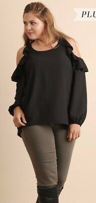 197152353b1b92 UMGEE NEW!! Black Cold Shoulder Top with Ruffled Shoulders Plus Size ...