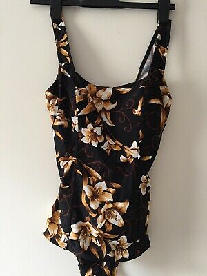 Vintage AT THE BEACH Size 16 New floral Swimsuit Retro with vest design
