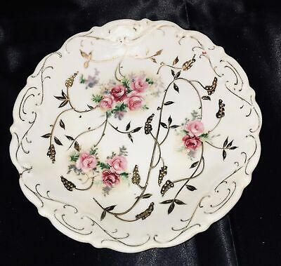 Antique Victorian Hand Painted China Rose Plate Gilded Gold Leaves White Footed