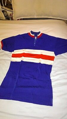 Vintage 60's Cycling Jersey zipped  Royal Blue/white/red MOD Northern Soul