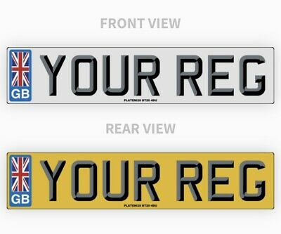 Pair Gb 3D Union Jack Car Number Plates 100% Road Legal Registration Top Quality