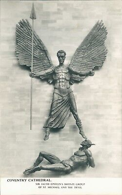 real photo;coventry cathedral sir jacob epstein's bronze statue;