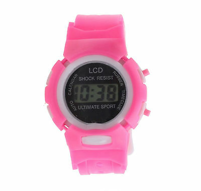 Pink Kids Girls Digital Wrist Watch Sports Date and Time Soft Band Shock Res LCD