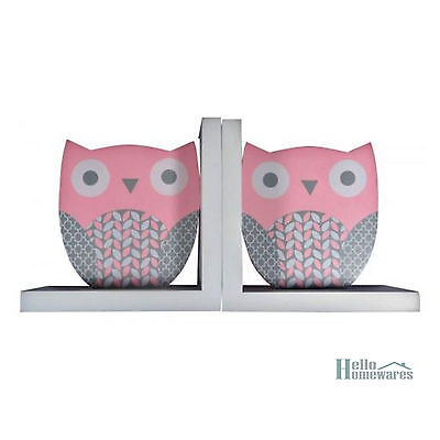 Bookends - Owl Pink and Grey - Children's Book Ends Nursery Decor Kids