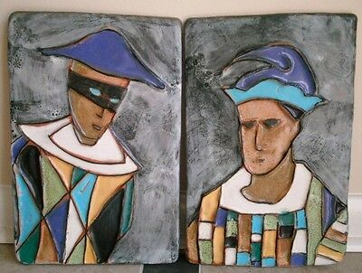 Vintage Mid Century Harris Strong Art Pottery Wall Plaques - Harlequin&Jester