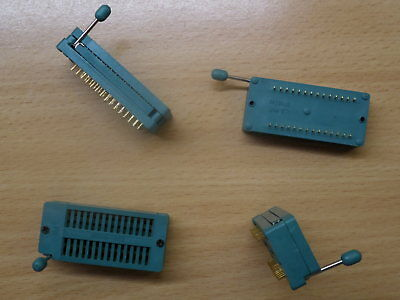 4x 28pin ZIF socket for DIL ICs Zero Insertion Force universal 0.3 0.6 wide