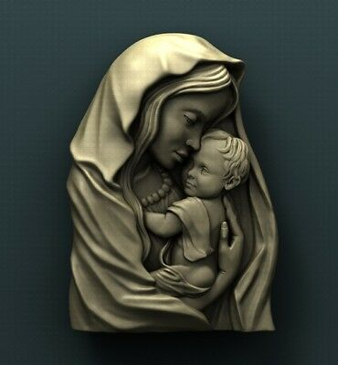 3d STL Model Relief for CNC Router Aspire _ (0289) Virgin Mary and Jesus