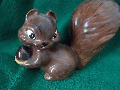 Vintage Ceramic Bushy Tailed Squirrel With Acorn Hand Painted