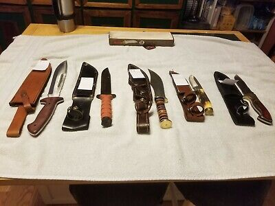 Lot of 5 Hunting Knives. 1 or 2 Foraged in Fire great collection lots  of photos