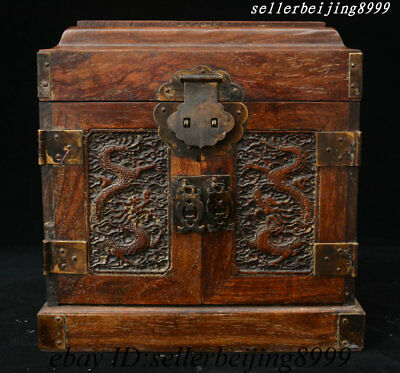 Chinese Huang Huali Wood Double Dragon Stockpile Case Casket Drawer Jewelry Box