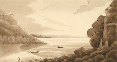 Pair of 19th Century Watercolours - Sepia Lake Landscapes