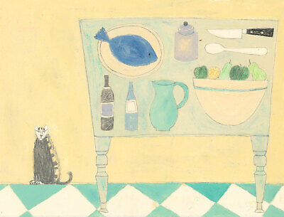 Modern British School Contemporary Gouache - Table Stop Still Life with Cat