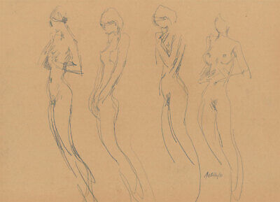 Peter Collins ARCA - Signed 1980 Graphite Drawing, Group of Nudes