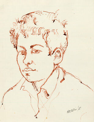 Peter Collins ARCA - Signed 1965 India Ink, Portrait of a Young Boy