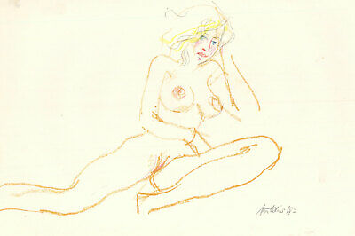 Peter Collins ARCA - Signed 1982 Mixed Media, Nude Study