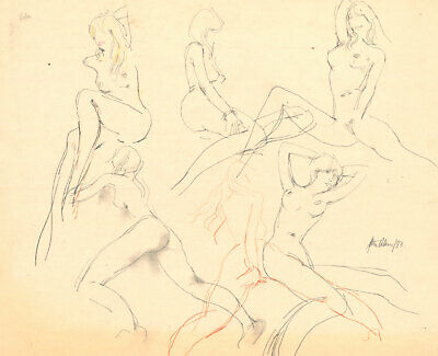 Peter Collins ARCA - Signed 1983 Graphite Drawing, Life Studies
