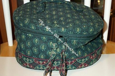 Vera Bradley Retired Classic Green Travel Cosmetic, Excellent