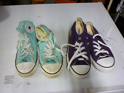 Converse All Star Youth Girls Sneakers Sz 1 High Low Purple Tiffany Blue 2 Pair