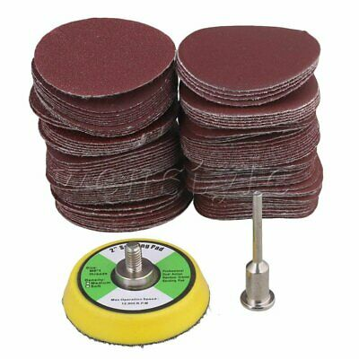 100PCS 50mm Polishing Hook Loop Sanding Discs Pad Mat Sandpaper 60-2000 Grit