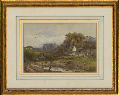 John Fullwood RBA (1854-1931) - Signed Watercolour, Cottage in a River Landscape