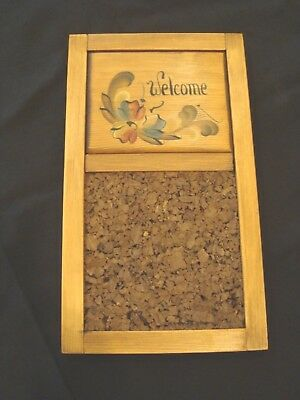 "Vintage NORWEGIAN Rosemaling ""Welcome"" Wooden Cork Board Colorful Floral Motif"