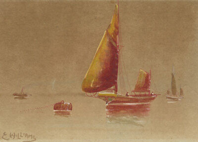 E. Williams - Early 20th Century Watercolour, Seascape with Sailing Boats
