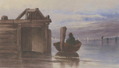 English School  Early 20th Century Watercolour - Seascape with Rowing Boat