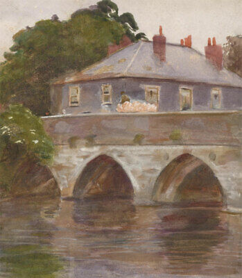 Mid 20th Century Watercolour Paintings House By The Bridge