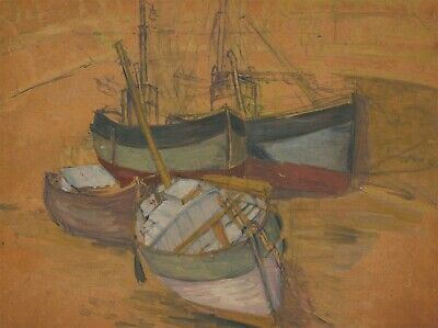 Mid 20th Century Gouache - Boats in a Harbour
