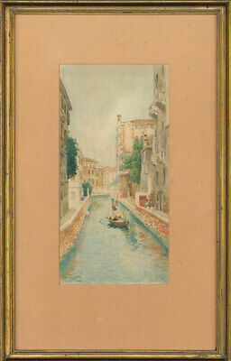 Fine Early 20th Century Watercolour - Venice Canal Scene with Gondola