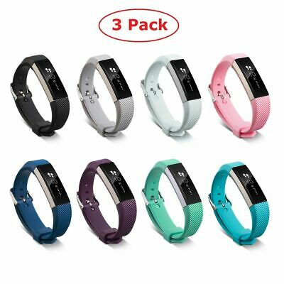 3 Pack Replacement Silicone Wristband Watch Band Strap For Fitbit Alta/Alta HR