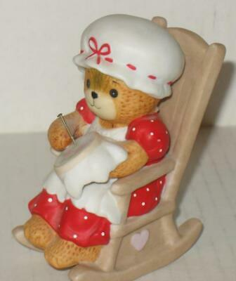 Enesco Lucy and Me Ceramic Bear Rocking Chair Needlepoint 1982 Lucy Rigg