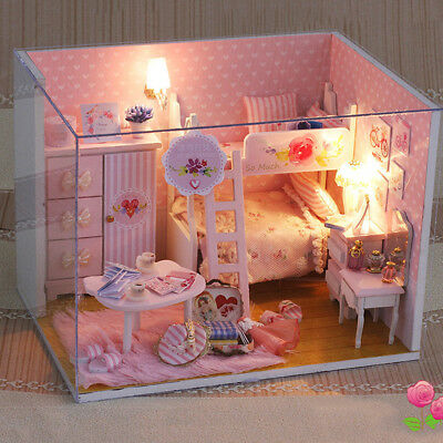 Miniature Doll House Wooden Pink Dollhouse w/LED Lights Furniture DIY Kit Gifts