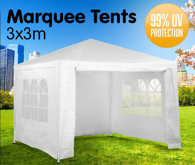 New 3 x 3m Party Tent PE 120g Wedding Outdoor Marquee Gazebo Event 4 Colours