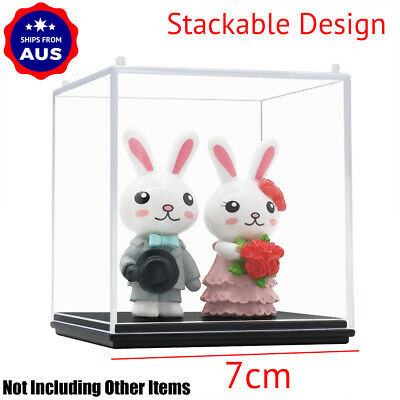AU Acrylic Cube Display Case Clear Perspex Box 7cm Plastic Base Dustproof Figure